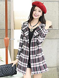 Women's Autumn And Winter Cultivation Plaid Wool Tweed Coat Outerwear
