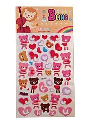 Pink Bear Plastic Sticker