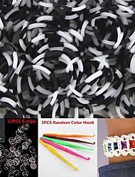 600pcs Weiß&schwarz 8-Segment-DIY twistz Silikongummibänder für die Regenbogenbaum Armbänder mit Haken&s-Clips