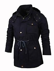 Men's Long Sleeve Regular Trench coat , Cotton Pure