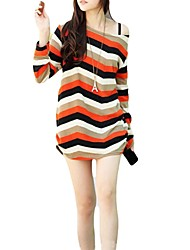 Women's Scoop Neck Colorful Stripes Knitted Long Tops