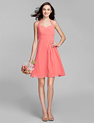 Knee-length Georgette Bridesmaid Dress - Watermelon Plus Sizes / Petite A-line Halter