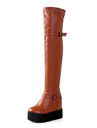 zapatos de mujer cuña punta redonda de tacón sobre las botas de la rodilla más colores disponibles