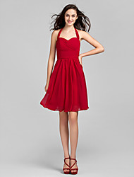 A-Line Halter Knee Length Chiffon Bridesmaid Dress with Ruching Criss Cross by LAN TING BRIDE®