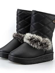 Zapatos de mujer - Tacón Bajo - Botas de Nieve / Punta Redonda - Botas - Casual - Cuero Sintético - Negro / Amarillo