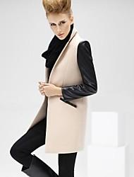 Women's Black/Beige Coat , Casual/Plus Sizes Long Sleeve Tweed/Wool Blends/PU