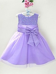 Girl's Solid Dress,Organza / Satin All Seasons