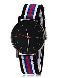 Men's Simple Black Dial Stripe Fabric Band Quartz Wrist Watch (Assorted Colors) Cool Watch Unique Watch Fashion Watch