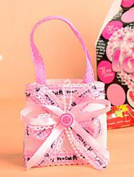 Elegant Satin Bowknot with Handle Favor Bag-Set of 12(More Colors)