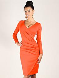 Women's New Fashion Deep V Shaping Long Sleeve Dress