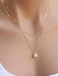 Women's Simple Double Layers Pearl Pendant Necklace