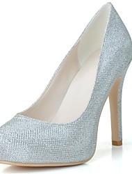 Feminino Wedding Shoes Arrendondado Saltos Casamento/Festas & Noite Preto/Prateado/Dourado