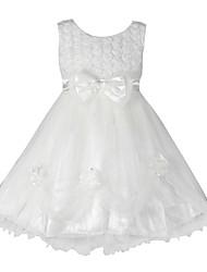Menina de Vestido Floral Algodão Orgânico / Organza Verão / Outono Branco