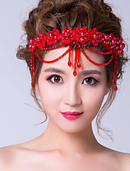 Женский Цирконий Ткань Заставка-Свадьба Особые случаи Цветы Цепочка на голову