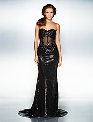 Formal Evening Dress - Black Trumpet/Mermaid Sweetheart Court Train Sequined