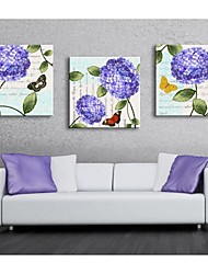 Customized Canvas Print Purple Flowers And Butterflies 30x30cm  40x40cm  60x60cm  Framed Canvas Painting Set of 3