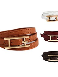 H-Shaped Three Rows of Wrapped Leather Bracelet (1Pc)