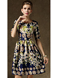 Guose  Women's Vintage/Casual Short Sleeve Dresses (Chiffon)