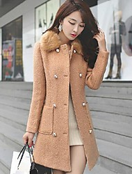 Women's Trench Coat,Solid Fall / Winter Pink