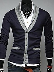 Men's Slim V Neck Contrast Color Sweater