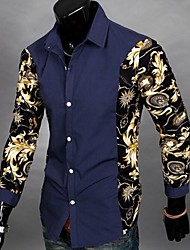 Manlodi Men's Floral Print Slim-Fitting Shirt