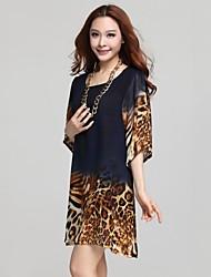 Women's Print Loose Leopard Chiffon Dress