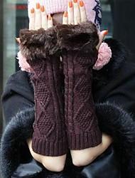 quentes luvas mitten malhas das mulheres de cor aleatória