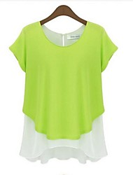 Women's Casual/Daily Simple Summer Blouse,Color Block Round Neck Short Sleeve Blue / Gray / Green Medium