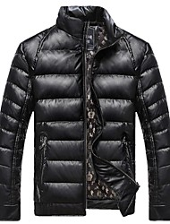 Men' Fashional Insulation Thick  Down Jacket PU without Hat