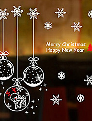 """Merry Christmas Lovely Cartoon Toys And Snow Window Sticker (22.08""""W × 22.44""""L)"""