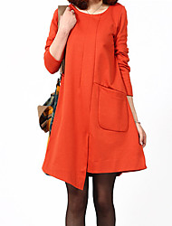 Women's Round Dresses , Cotton Blend Vintage/Sexy/Party/Work Long Sleeve M.Dama