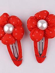 cute baby ragazzo ragazza zucca faux perla fiore centrato morsetto clip di capelli decorazione