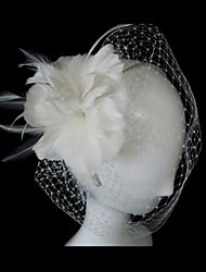 Classic Tulle With Ivory Feather Women's Birdcage Veil