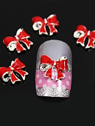 10pcs Red Fold Bowknot DIY Nail Art Decoration