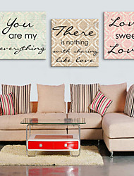 Toiles Tendues Art Mots Sweet Love Lot de 3
