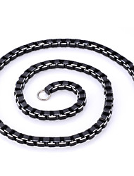U7® Cool Black Box Chains Aluminium Alloy Necklace High Quality Men's Jewelry 6MM