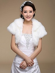 Short Sleeve Faux Fur Warm Wedding Bridal Wraps Bolero Shrug