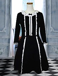 lieve dame lange mouw knielange zwarte katoenen schoolgroep lolita jurk