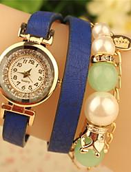 Мак женщин всего матча сплошной цвет имитация жемчуга пу змея часы