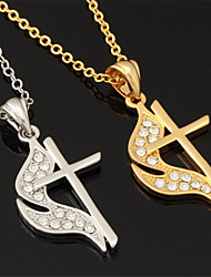 New Jesus Cross Pendant Charm Necklace 18K Gold Platinum Plated Rhinestone Crystal Jewelry Gift for Women