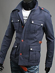 Men's Long Sleeve Casual Jacket,Others Solid Blue / Gray