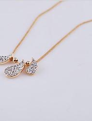 ouro moda latão / banho de ródio e pingente de cristal colar de mulheres