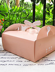 Pink Card Paper Cake Favor Boxes With Bow Handle-Set Of 5