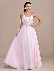 Homecoming Dress - Blushing Pink Plus Sizes Sheath/Column V-neck Floor-length Chiffon
