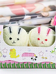 Birthday Gift Rabbit Shape fiber Creative Towel (Random Color)(2 PCS/Set)