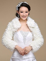 Long Sleeve Faux Fur Bridal Wedding Wrap / Evening Jacket Bolero Shrug