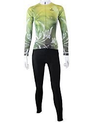 PaladinSport Women's Spring and Summer and Autumn Style 100% Polyester Green Lily Long Sleeved Cycling Suits