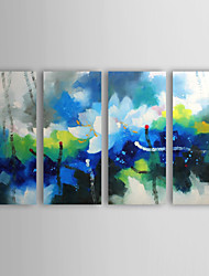 Oil Painting Abstract Blooming Lotus with Stretched Frame Set of 4 1309C-AB0830 Hand-Painted Canvas