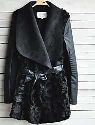 Faux Leather Fashion Turndown Collar Special Occasion/Casual PU Jacket