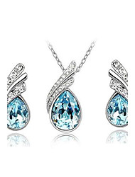 Women's Jewelry Set Drop Earrings Pendant Necklaces Crystal Basic Costume Jewelry Fashion Austria Crystal Drop Earrings Necklace For